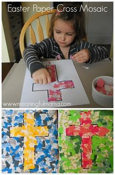 Mosaic Cross Craft for Easter - Christian Easter Crafts for Kids and Toddlers Easter Crafts For Toddlers, Easter Activities, Toddler Crafts, Kids Church Crafts, Preschool Easter Crafts, Craft Activities, Bible Crafts For Kids, Easter Ideas For Kids, Easter Jesus Crafts