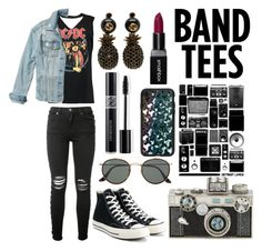"""Band tees"" by tanvibhatia1 ❤ liked on Polyvore featuring Boohoo, AMIRI, Hollister Co., Converse, Ray-Ban, Gucci, Christian Dior, Casetify, Judith Leiber and Smashbox"
