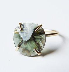 Green Tourmaline Gold Ring OOAK by #friedasophie - www.friedasophie.etsy.com