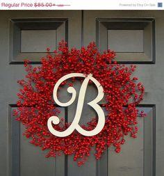 Door Wreath Monogram Wreath Red Berry Wreath by ElegantWreath