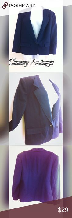 Dark blue Pendleton Blazer 100% Virgin wool lined jacket. Two front pockets and one button front. No flaws gently used. Pendleton Jackets & Coats Blazers