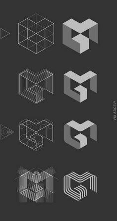 logo inspiration // process // MG logo by Jan Zabransky, via Behance Web Design, Game Design, Layout Design, G Logo Design, Logo Design Trends, Modern Logo Design, Design Color, Food Design, Corporate Design