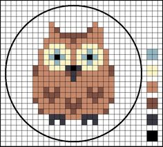 As promised, here is the chart for the Owl counted cross stitch motif.          As with the Fox, the finished counted cross stitch is only ...