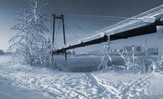 Вид на вантовый мост на о. Татышев. Зима. Вид на запад - View of the cable-stayed bridge on about. Tatyshev . Winter. West View. Russia. Krasnoyarsk region. Krasnoyarsk. Author Dmitry Antipov