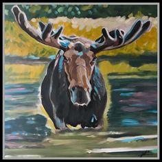 acrylic on canvas Kim Campbell, Moose Art, Art Gallery, My Arts, Canvas, Painting, Animals, Tela, Art Museum