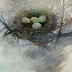 Creative Art Workshop Retreat in Northern Wisconsin for Artists of Linda Kemp in Transforming Imagery - Negative Painting Evolution with Acrylic, June 2017 Watercolor Negative Painting, Watercolor Landscape, Watercolor And Ink, Watercolor Paintings, Watercolours, Birds And Their Nests, Watercolor Techniques, Flowers Nature, Bird Art