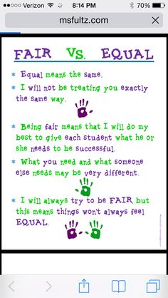Fair does not mean equal.