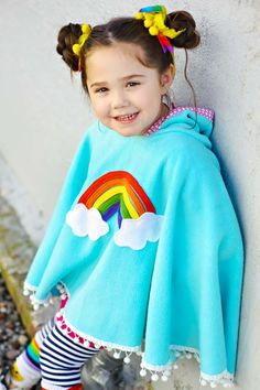 Rainbow Poncho Cape in Aqua with Pink Heart Hood  by thetrendytot, $52.00