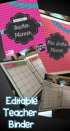 This is an editable teacher binder in super cute colors! Use it to keep organized and stylish at the same time!  #teacher #editable #planner #organizer #daybook