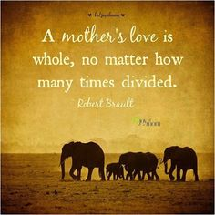 """""""A mother's love is whole, no matter how many times divided."""" – Robert Brault"""