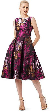 Adrianna Papell Floral Midi Jacquard Fit-and-Flare Dress