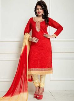 Red Beige Embroidery Work Chanderi Cotton Designer Fancy Churidar Casual Suit         #Anarkali #Churidar #Pakistani #Suit #Salwar #Bollywood       http://www.angelnx.com/Salwar-Kameez