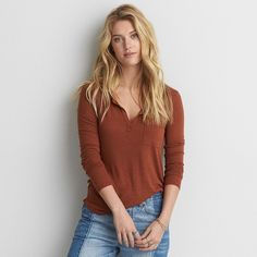 AE Long Sleeve Henley T-Shirt ($30) ❤ liked on Polyvore featuring tops, t-shirts, metallic, pocket t shirts, american eagle outfitters t shirts, american eagle outfitters, henley t shirts and long sleeve pocket tee