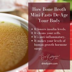A quick rundown of the benefits of bone broth mini-fasting! Consider taking my 21-day challenge with the Bone Broth Diet, you'll be amazed at the difference only a few of these mini-fasts make in your life... #BoneBroth #BoneBrothDiet #HealthyTips #WeightLoss #WeightLossTips #HealthyGut