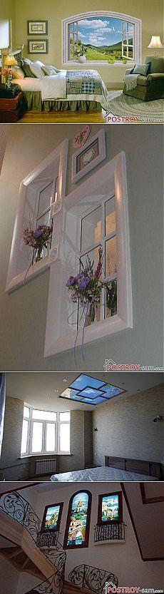 Фальш-окна в интерьере. Фото