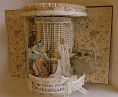 Altered Book repurposed Antique Shakespeare Stories 1923 in the shape of a global theatre