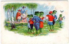 1933  C OHLER  Dancing Frogs Litho Postcard