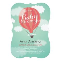 "Customize this lovely stylish Baby Shower Invitation with an original illustration of a pink  striped hot air balloon flying high in the blue sky with white clouds. This design works beautifully with various corner shape and is perfect for a baby girl. Matching Thank You Stickers can be found here:   <div style=""text-align:center;line-height:150%""> <a href=""http://www.zazzle.com/custom_hot_air_balloon_thank_you_stickers-217119091905513225?rf=238159486447151366""> <img ..."