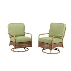 Hampton Bay Clairborne Motion Patio Lounge Chair With Moss Cushion (2 Pack)
