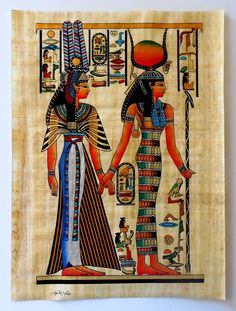 """Ancient Egyptian Art on Egyptian Papyrus. Unique Handmade Art For Sale at arkangallery.com   Title: """"Isis and Queen Nefertari""""   Size: 12"""" x 16""""   www.arkangallery.com"""