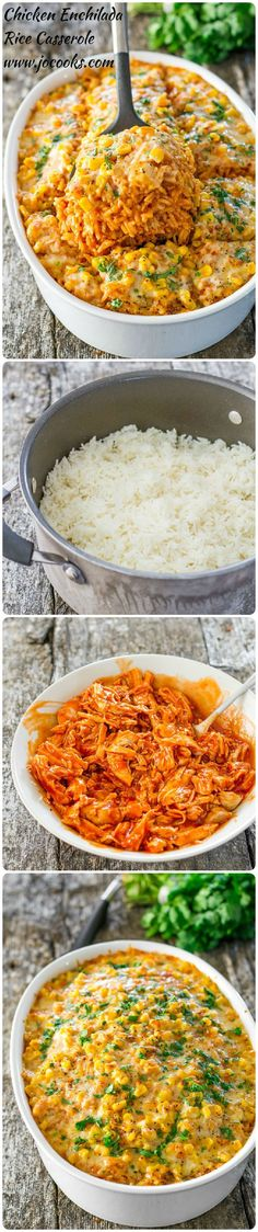 Enchilada Rice Casserole – all the makings of a chicken enchilada but with rice. It's simply delicious!Chicken Enchilada Rice Casserole – all the makings of a chicken enchilada but with rice. It's simply delicious! I Love Food, Good Food, Yummy Food, Tasty, Rice Casserole, Casserole Recipes, Chicken Casserole, Brocolli Casserole, Great Recipes