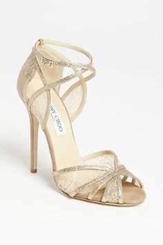 Jimmy Choo champagne silk and sparkling cristals sandals