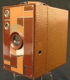 Art Deco Beau Brownie box camera in brown by Eastman Kodak