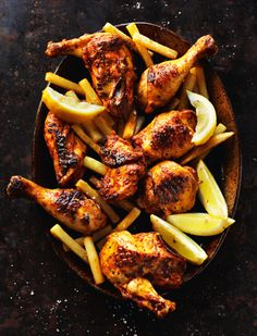 We love piri-piri chicken – and you'll be pushed to find a better recipe than this one from Rick Stein's Long Weekends. It's hot, flavoursome and a dish the whole family can enjoy. Serve with chips or potatoes and salad for the perfect evening meal. Seafood Recipes, Chicken Recipes, Dinner Recipes, Cooking Recipes, Healthy Recipes, Drink Recipes, Dinner Ideas, Piri Piri, Chicken And Chips