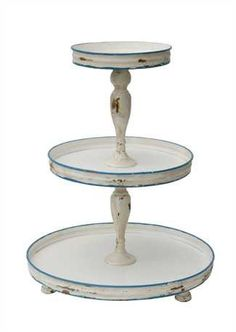 Distressed Antique White & Blue Three Tiered Tray