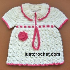 Free baby crochet pattern for collared dress  FJC79 http://www.justcrochet.com/collared-dress-usa.html #justcrochet
