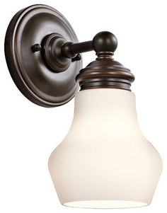 Kichler 1-Light Wall Sconce - Oil Rubbed Bronze Sconces contemporary-wall-sconces $71.50, like the round backplate, round light fixture, cute