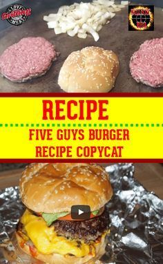 Five Guys Burger Recipe - This hamburger recipe is going to blow your mind. Five Guys Burger Recipe – This hamburger recipe is going to blow your mind…I mean who doesn& love a Five Guys Burger? Five Guy Burgers, Burger And Fries, Beef Burgers, Veggie Burgers, Mini Burgers, Skillet Burgers, Pizza Burgers, Gourmet Burgers, Copykat Recipes