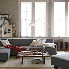 couch, lamp, windows, colors!