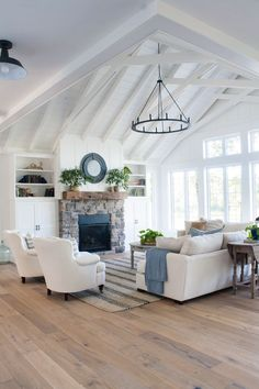 White Lake House Living Room Decor