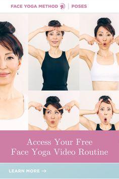 Free Face Yoga Video Routine! #faceyoga Yoga Fitness, Health Fitness, Face Yoga Exercises, Facial Yoga, Yoga Videos, Beauty Industry, Yoga Poses, Routine, Diy