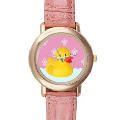 Gifts for girls or ladies Funny Yellow Rubber Ducky Pink Leather Alloy Highgrade Watch * Find out more at the image link.