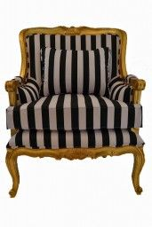 French Bergere Lux Armchair with Black and White Stripe Fabric Gold Leaf Frame -Maybe not black and white stripes, but some lighter color. Grey And Gold, Black And White, White Gold, White Armchair, French Living Rooms, Small Living Room Chairs, Home Depot Adirondack Chairs, California Living, Beautiful Inside And Out