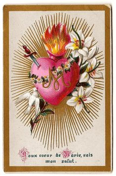 Sacred Heart of Mary Antique French Goldprint Holy Prayer Card, Catholic Gift, Catholic Card, Immaculate Heart, Pierced Heart Vintage Holy Cards, Vintage Paper, Our Lady Of Lourdes, Beautiful Prayers, Heart Of Jesus, Paper Lace, Catholic Gifts, Prayer Cards, Heart Cards