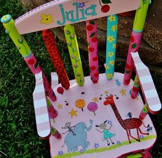 Personlaized Kids Rocker Custom Painted Rocking Chair for Children Kids Rocker Personalized Childs Rocking Chair Rocker for Kids Custom