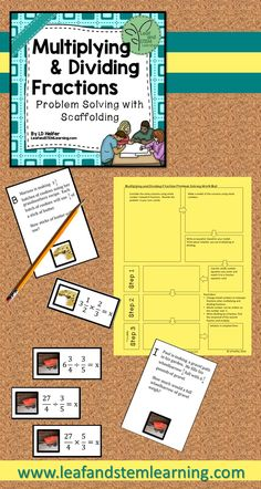 This multiplying and dividing fractions activity can be used for a math center or for small group instruction. Students use 16 paired real-world word problems to practice determining whether multiplication or division is appropriate. A work mat guides students through the problem solving process.