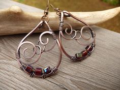 wire wrapped jewelry handmade, earthy jewelry, copper earrings, one of a kind wire wrap earrings, hand made jewlery Etsy womens gift rustic by TFUniqueTwists on Etsy https://www.etsy.com/listing/518582762/wire-wrapped-jewelry-handmade-earthy