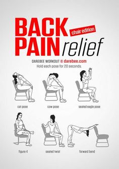 How to Deal With Your Aching Back - Women Fitness Magazine Mens Yoga. Back Pain Relief Chair Edition Fitness Workouts, Yoga Fitness, At Home Workouts, Health Fitness, Beginner Ab Workouts, Fitness Memes, Chair Exercises, Back Pain Exercises, Yoga Exercises