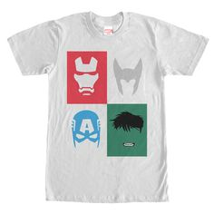 Avengers Masks - See what its like to step up and take the place of one of your favorite superheroes on the Marvel Avenger Mask WHITE T-Shirt. This fun WHITE Marvel shirt features an outline of the Hulks messy hair, Thors iconic Winged Helmet, and the masks of Captai