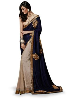Dark Blue and Beige Velvet and Net Saree with Blouse