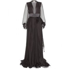 Saint Laurent Floor-Length Silk Gown ($3,150) ❤ liked on Polyvore featuring dresses, gowns, long dresses, saint laurent, black, sheer sleeve dress, floor length gowns, silk ball gown, sheer long sleeve dress and long silk dress