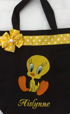 Personalized Tweety Bird Tote bag by MyDesertCutie on Etsy, $20.00