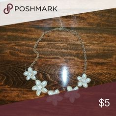 Flower necklace Pearl like petals, gorgeous statement necklace. Jewelry Necklaces