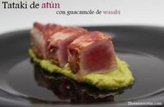 Exótico y jugoso tataki de atún, acompañado con guacamole de wasabi. Ideal como plato principal o como aperitivo. Buena opción para una cena.
