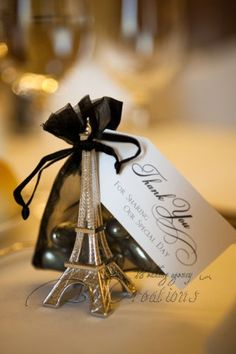 "Paris #weddingfavors ""Evening in Paris"" Eiffel Tower Silver-Finish Place Card/Holder  Sale Price: $1.49 (15% off)"