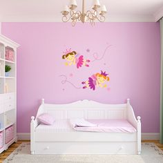 Fairies Printed Wall Decal Set | Wall Decal World | Comes with 2 adorable fairies! Perfect for a nursery! #nurserywalldecals